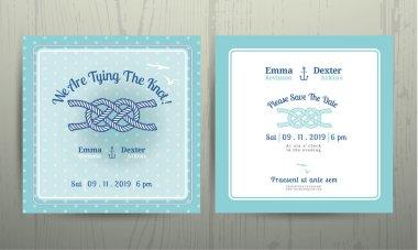Nautical light house wedding invitation and RSVP card template set