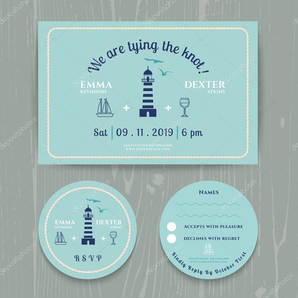 Nautical light house wedding invitation and RSVP card template set ...