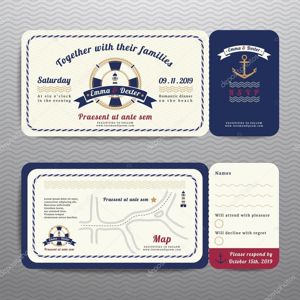Nautische Ticket Hochzeitseinladung Und Rsvp Karte Mit Anker Seil Design  Auf Welle Hintergrund U2014 Vektor Von EEspace