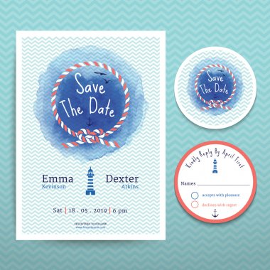 Nautical rope water colour wedding invitation and RSVP card template