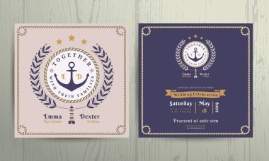 Vintage nautical wreath and rope frame wedding invitation card template