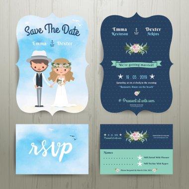 Bohemian cartoon couple on the beach wedding card template set