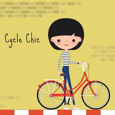Girl with bicycle in the city