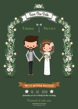 Rustic hipster cartoon couple wedding card