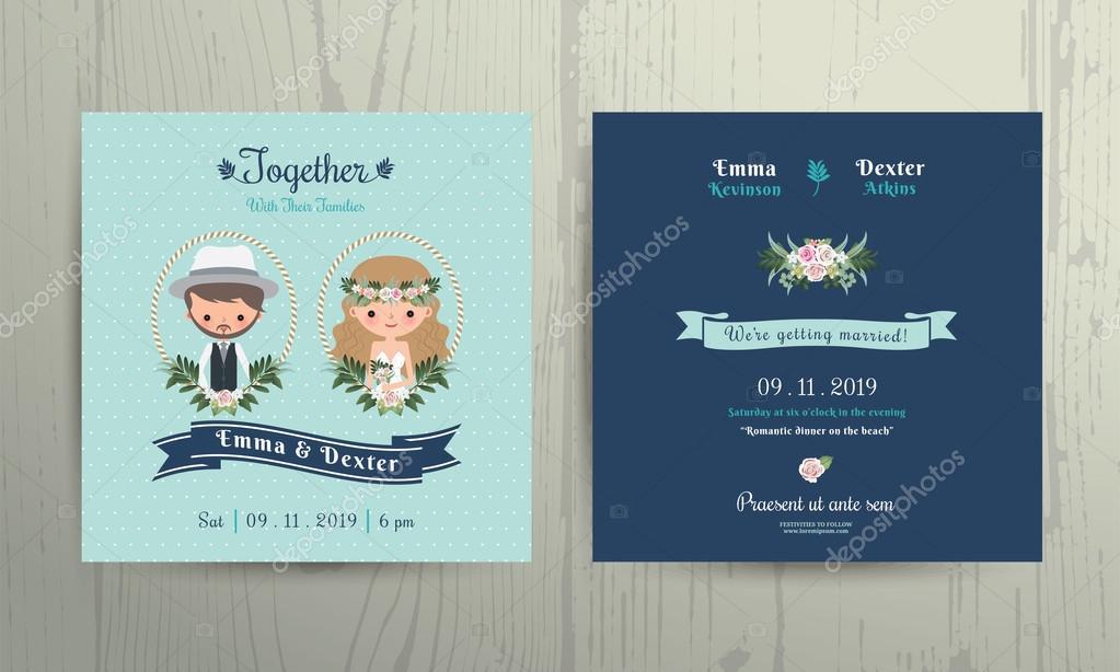 Hochzeit Einladung Karte Strand Thema Cartoon Braut Und Bräutigam Porträt U2014  Stockvektor