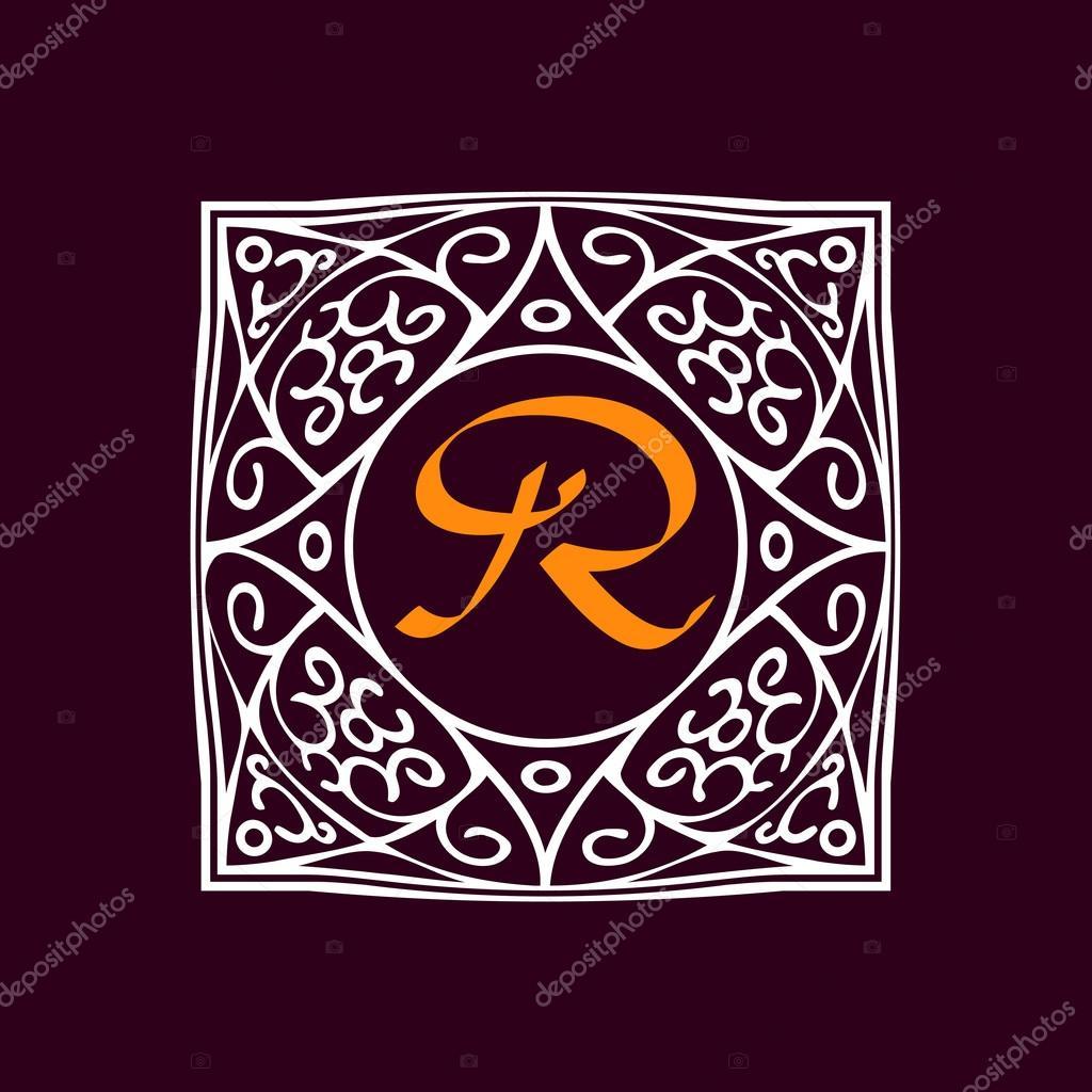 Marco adornado monograma \' R — Archivo Imágenes Vectoriales ...