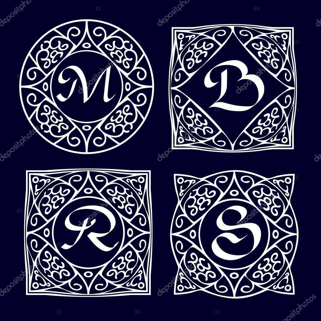 Monograma adornado marcos — Archivo Imágenes Vectoriales ...