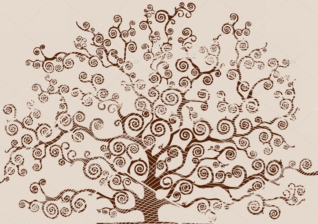 drawing of a tree with foliage scrawled