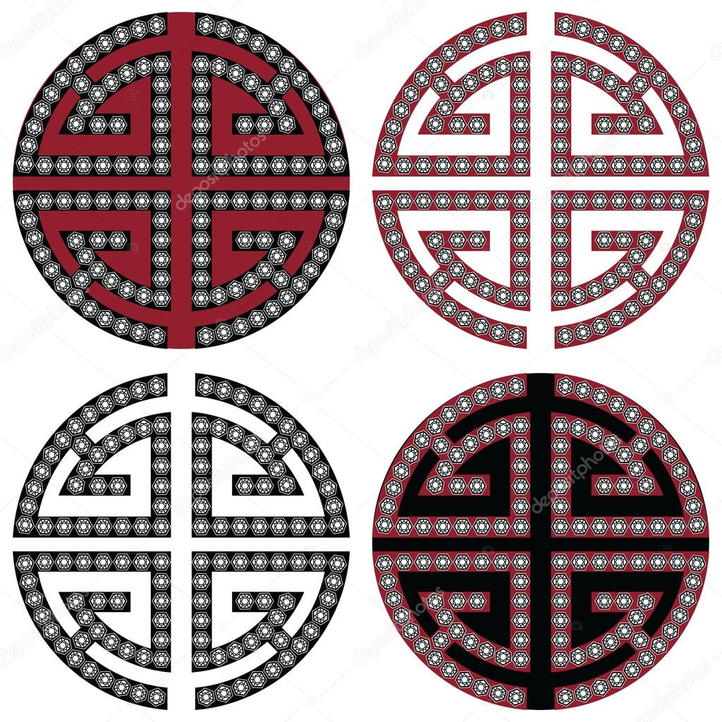 Traditional Geometric Oriental Korean Symmetrical Wealth Zen Symbols