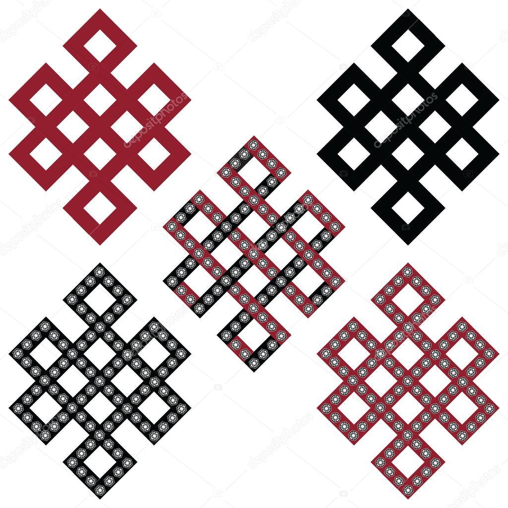 Super géométriques orientaux tibétain symétrique éternels, symboles  DE91
