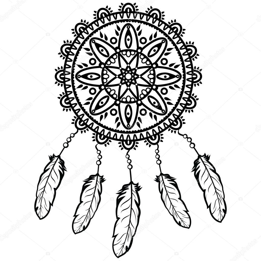 Henna Design Line Art : Gráfico de apanhador sonho no estilo mandala preto e