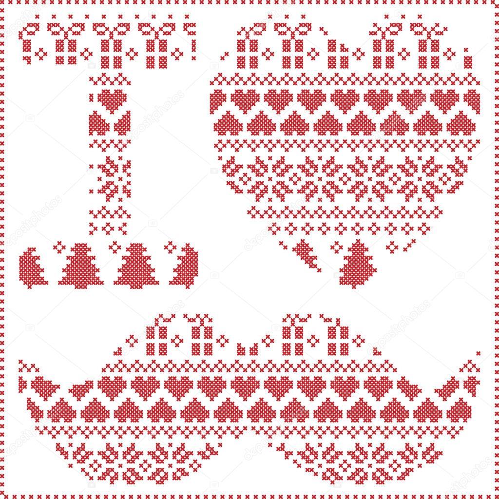 Amo patrón hipster en escandinava nórdica invierno costura tejer ...