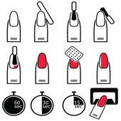 Fotografie Gel und Hybrid-Nägel Vorbereitungsprozess, Lackierung und Schutzprozess unter UV- und LED-Lampensymbol in schwarz-weiß-rot eingestellt