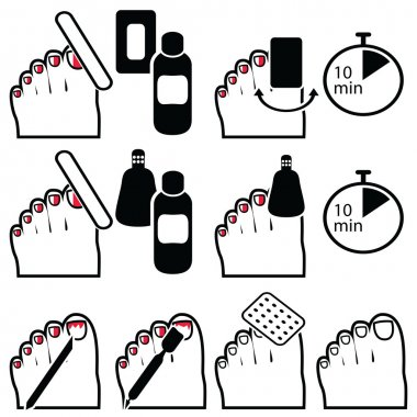 gel pedicure removal icons in colour.