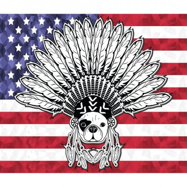 Warrior style French bulldog with tribal Headdress with plain feathers in white and black symbolizing native American people and Independence day on American flag in low poly style