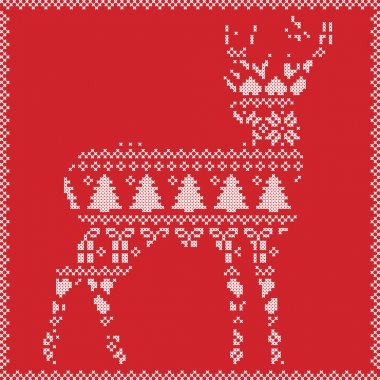 Scandinavian Norwegian style  winter stitching  knitting  christmas pattern in  in deer silhouette including snowflakes, hearts xmas trees c, snow, stars, decorative ornaments on red  background