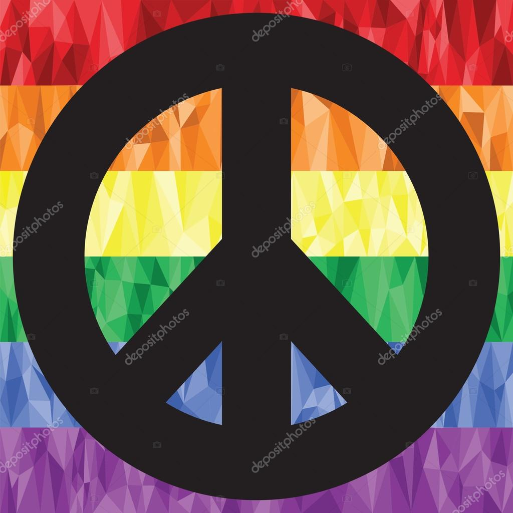 Gay and lesbian rainbow symbol flag in low poly art with peace gay and lesbian rainbow symbol flag in low poly art with peace symbol stock vector biocorpaavc