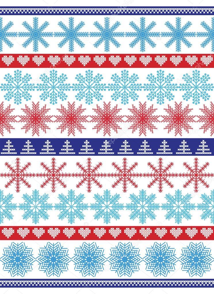 Skandinavische muster blau  Muster einschließlich variieren Schneeflocken Formen in blau ...