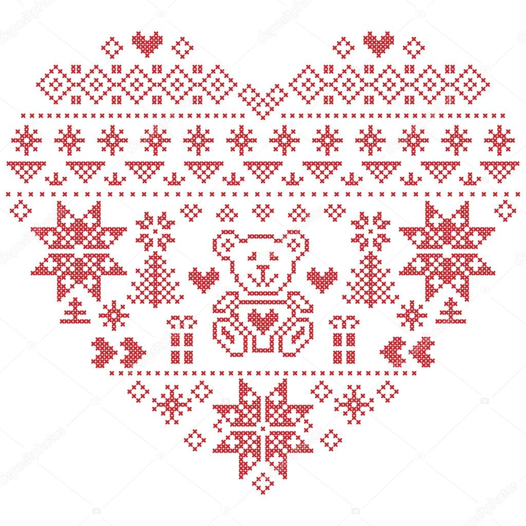Heart Shape Scandinavian Printed Textile style and inspired by ...