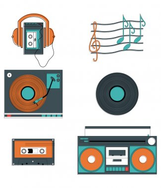 Music players and components with vintage elements such as record player, record, cassette, cassette players, headphones, notes stock vector