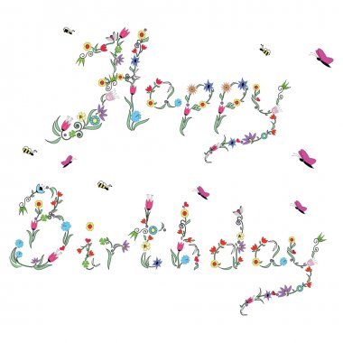 Spring Happy Birthday sign in color with floral elements