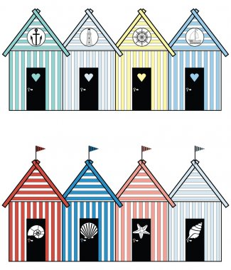 Beach houses including sea shells, star fish,  rudder, light house, anchor and boat