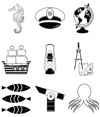 Nautical elements 3 including   seahorse, octopus, captains hat,  ship, drawing compass, tresure map, nautical style lamp, fish, globe, beach telescope