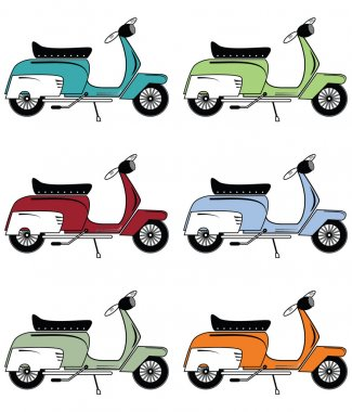 Vintage scooters icons set