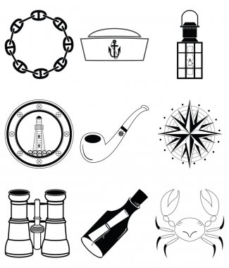 Nautical elements IV including crab, pipe, sailors hat, lantern, rose winds , view from the boats window, message in the bottle, binoculars and navy style chain