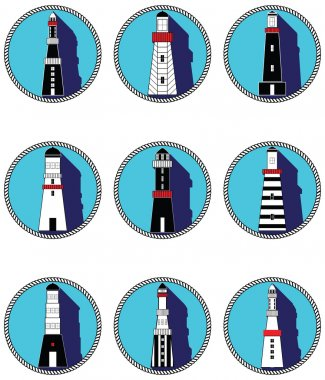 Lighthouses icons with vary stripes , shapes and windows elements in black and white design