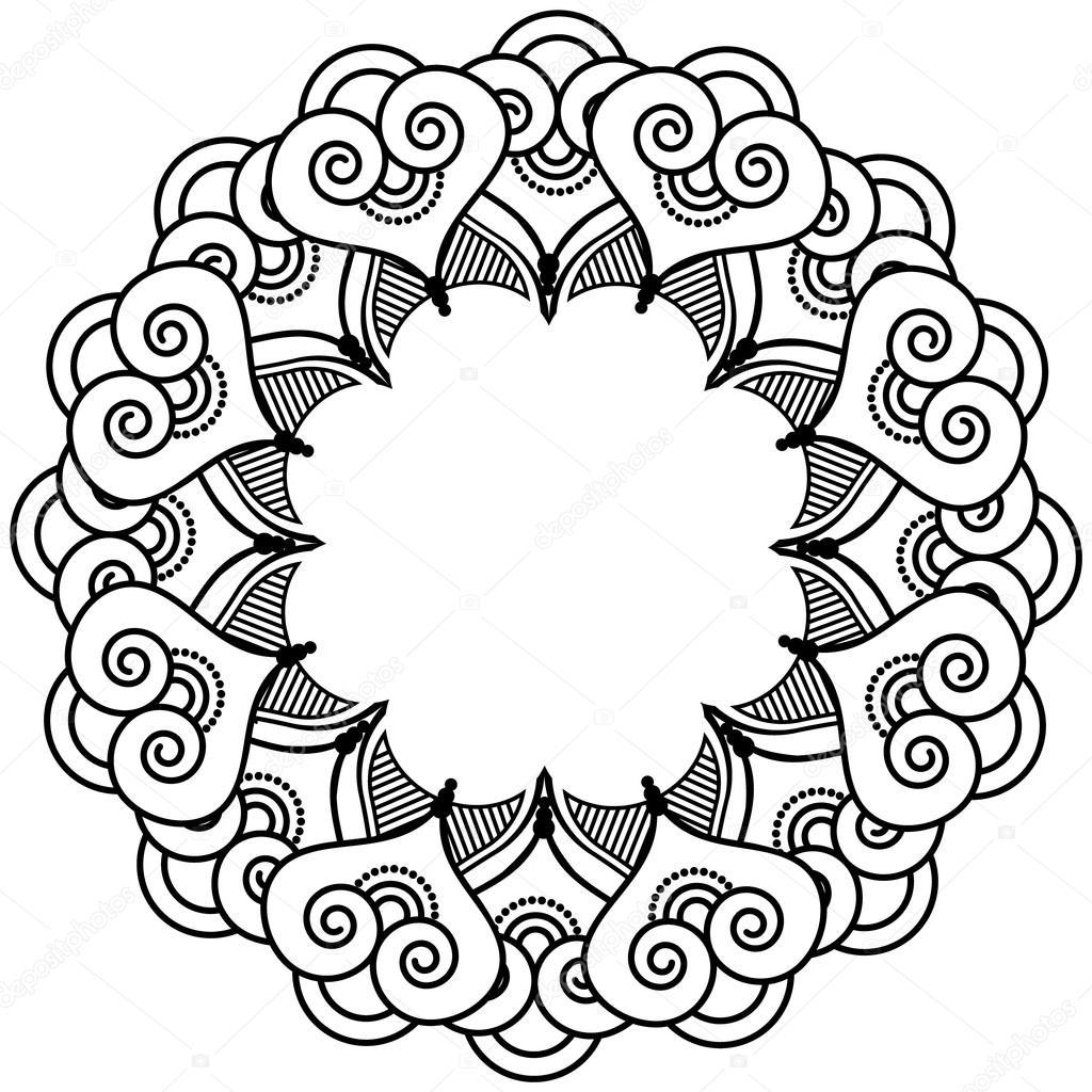 indian henna tattoo inspired heart shapes wreath with leaves rh depositphotos com henna vector free henna vector art