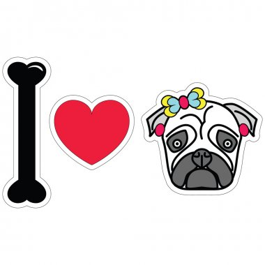 I love pug female pug with earnings and a bow sticker style