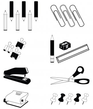 Office accessories icon set in  black and white