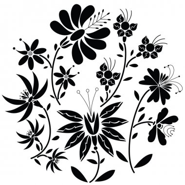 Black Floral folk pattern in circle shape on white background