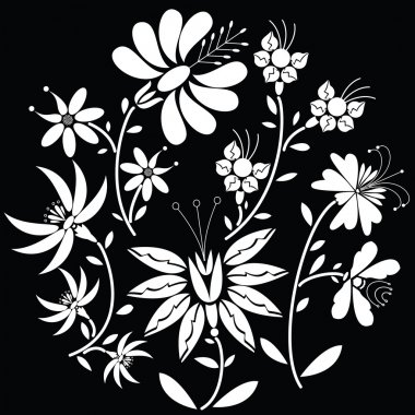 White Floral folk pattern in circle shape on black background