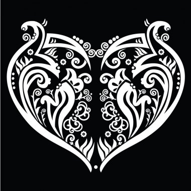 Heart made out of swirls tattoo inspired white on black background