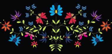 European Culture Inspired Folk Floral pattern in color on black background