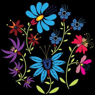 Color Folk Floral pattern in circle on black  background.