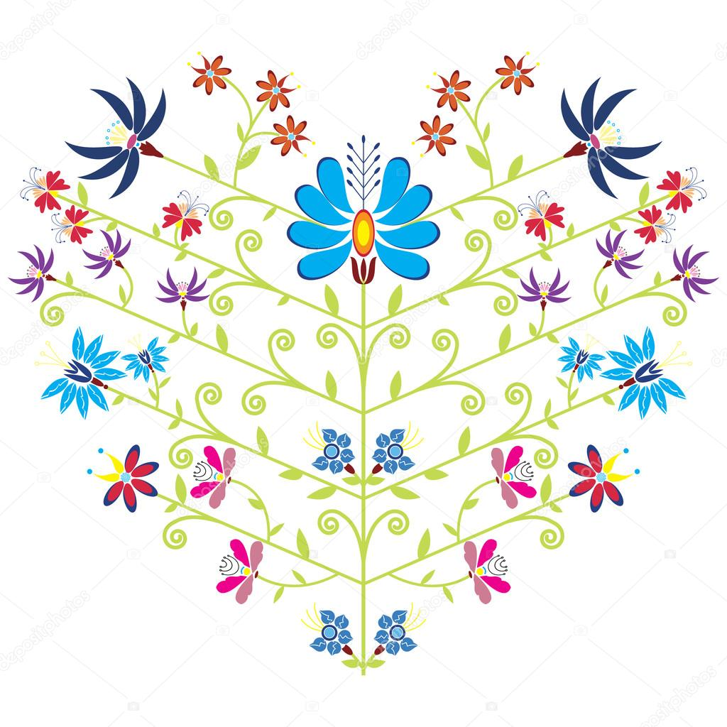 Ethnic folk floral pattern in heart shape on white background
