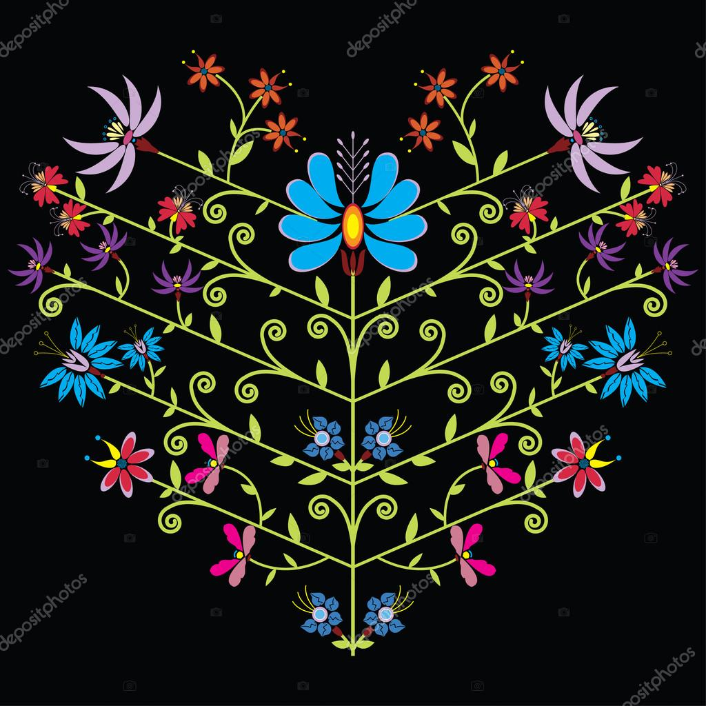 Ethnic folk floral pattern in heart shape on black background.