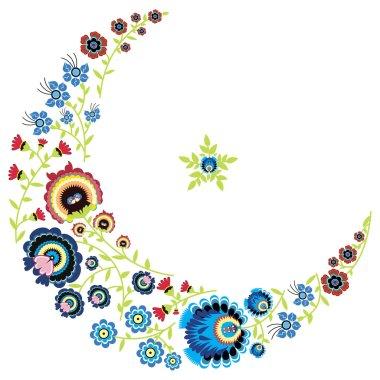 Polish folk floral pattern in moon shape
