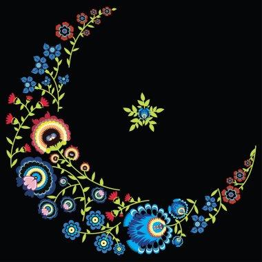 Polish folk floral pattern in moon shape black background