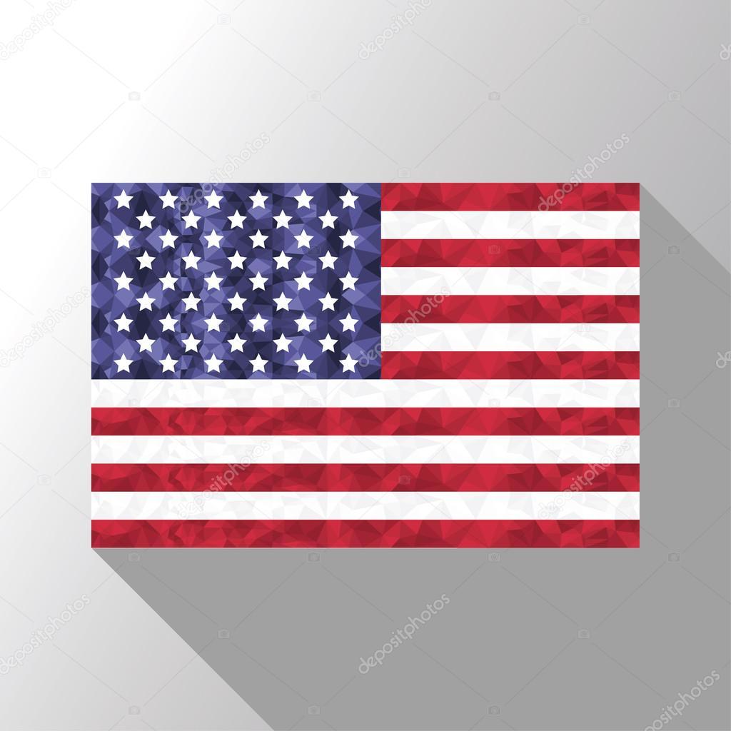 Amerikanische Flagge in Poly-Kunst-Design mit langer Schatten-Effekt ...
