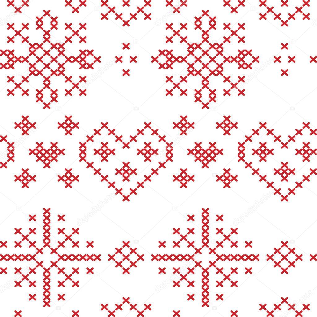 Sin fisuras patrón nórdico Navidad con corazones de estrellas los ...