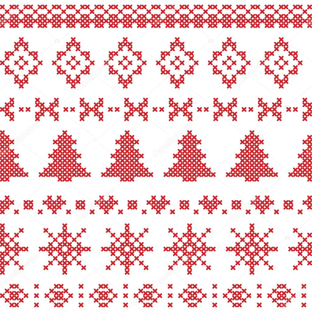 Patrón de nórdico con elementos de Navidad cosido en rojo — Vector ...