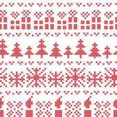 Fotografia Punto croce nordica Chritsmas modello nel colore rosso con i regali di Natale, candele, fiocchi di neve, stelle