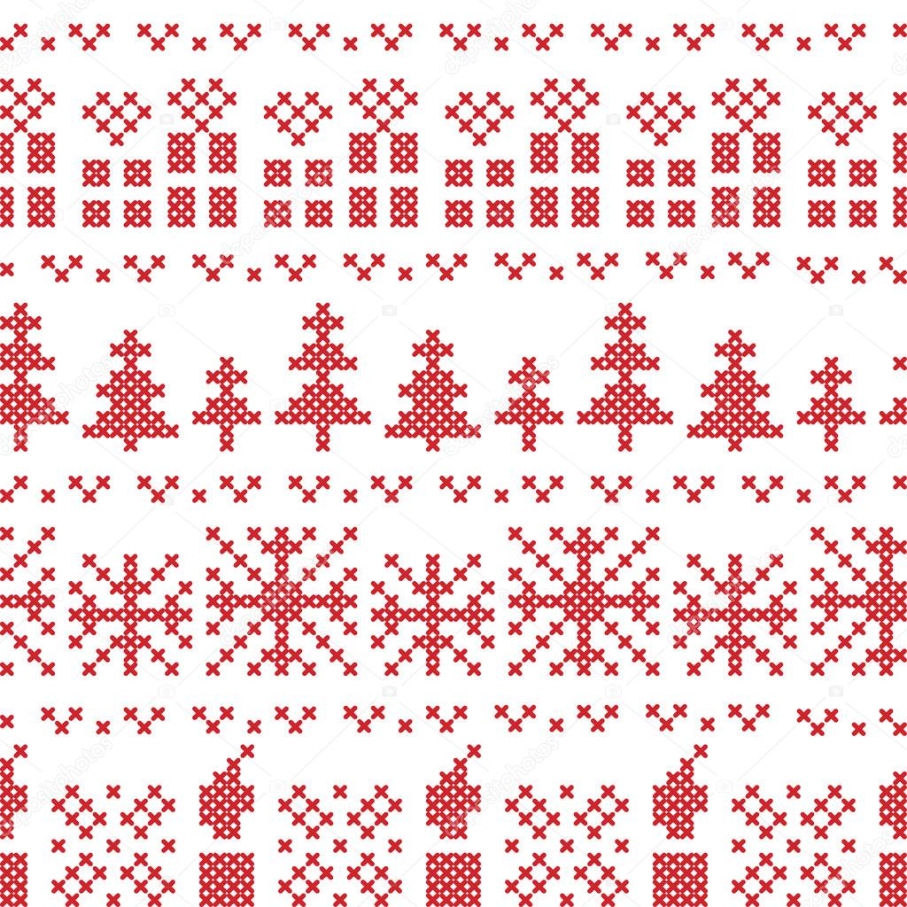 Cruz nórdica Navidad puntada patrón en rojo con velas, regalos de ...