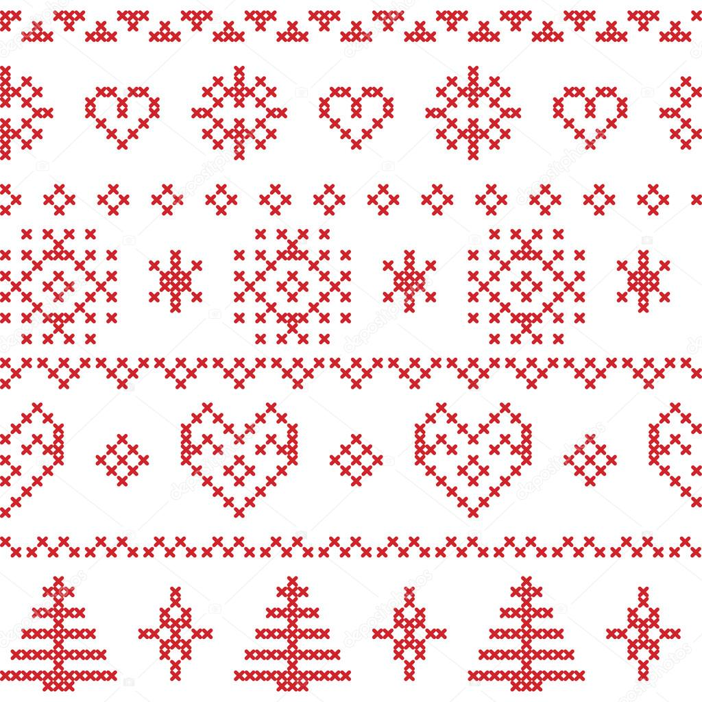 Seamless Christmas Nordic pattern inspired by textile patterns with ...