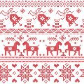 Fotografia Presenta Natale Nordic Croce gobelin compresi renne, fiocco di neve, stella, albero di Natale, campana, in rosso