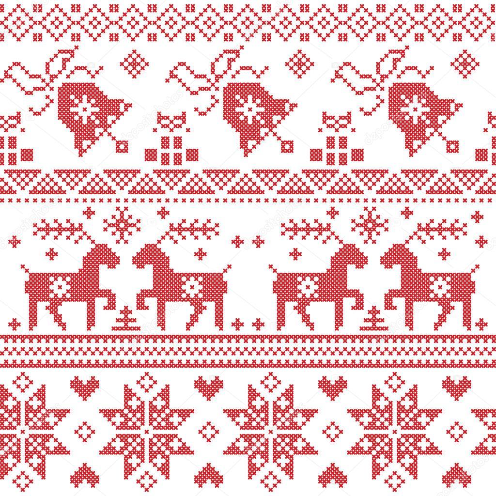 Nórdico de Navidad punto de cruz patrón incluyendo renos, copo de ...